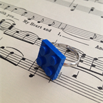 Blue retro plastic building block ring, fun - Ready to Ship Now
