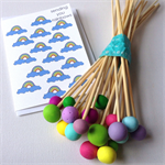 """Polymer Clay """"Popsticles"""" Circus colours Set of 21 Decorative balls"""