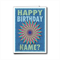 Blue pinwheel Happy Birthday card, personalized NAME male  boy dad son