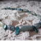 Blue kyanite and blister pearl necklace