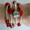 Red and Silver Memory Wire Bracelet