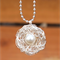 Only Child Swarovski Pearl Hand Wrapped Bird Nest On Long Ball Chain