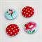 Flower Red Dot Fabric button magnet set