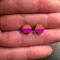Neon Dipped - hexagonal hand painted earrings