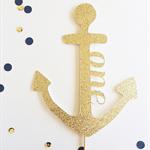 Glitter Gold Nautical Anchor Cake Topper
