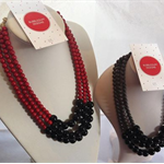 Triple Layered 2 colour way Bead Necklace in Grey & Black