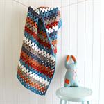 baby blanket | crochet granny stripes| pram stroller | wool | newborn boy gift
