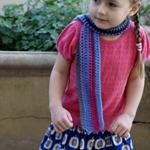 Crocheted child scarf | Wool blend| Blue/pink/grey/purple