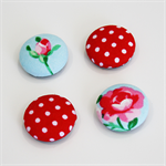 Flower Red Dot Fabric button magnet set