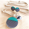 Turquoise and Black Stripe Resin Silver Necklace