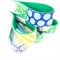 Wristlet Key Fob Chain - Echino Green Patchwork