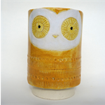 Ceramic Pen Holder or Planter // Handmade Owl Ceramic Pen Cup // Orange Yellow W