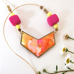NECKLACE beaded chevron wood & original watercolour art necklace in nectarine.