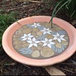 Mosaic Bird bath -flannel flower design, perfect piece of art for your garden