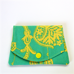 Pocket Purse - Bright Yellow paisley vines on turquoise