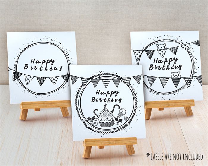 Sets of 3 Half Fold Greeting Cards Happy Birthday Doodle – Doodle Birthday Card