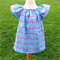 Blue Flamingo Peasant Style Dress {You choose size}