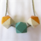 Geometric Wooden Beaded Necklace natural wood/gold & deep turquoise.