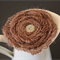 Handmade brown hessian flower with baby blue and red dot wooden button