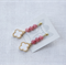 Fashionable white clover, pink jasper gemstone earrings