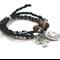 Archangel Michael + Cross Bracelet set wood Stacking bracelet set Saint Michael