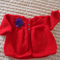 SIZE 1-2 years - Hand knitted baby cardigan/ jacket in red with purple button
