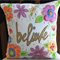 """Hand Painted Believe 14"""" Cushion Cover"""