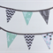 Bunting Flags for Baby Nursery in Aqua & Grey Owls design