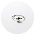 Single Facet Cut Rock Ring / Sterling Silver Stacking Ring