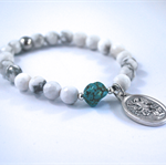Archangel Michael white + turquoise bracelet Saint Michael catholic bracelet