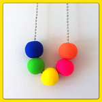 5 Bead Polymer Clay Necklace with Ball Chain and Choker - Neons