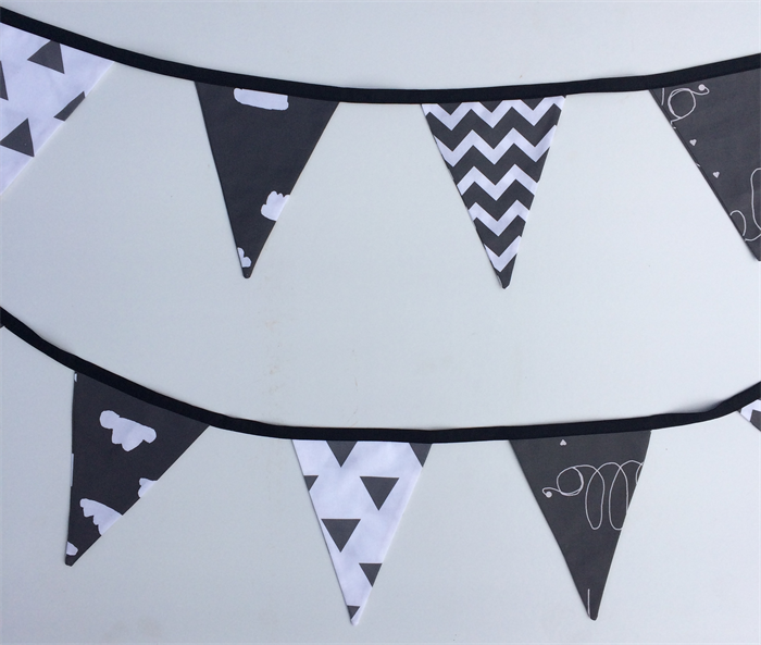 Bunting Flags For Baby Nursery In Black White Monochrome Hello Clouds Design
