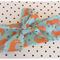 Aqua & orange fox fabric headband/head wrap baby kids toddler adult bow.