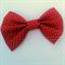 Gold polka dots and red Christmas handmade fabric bow hair clip.