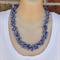 Blue Glass Pearl Crochet Wire Beaded Handmade OOAK Necklace by Top Shelf