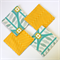 4 x Reversible Fabric Coasters - Spring teal leaves & sunshine chevron