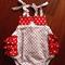 Christmas playsuit. red polkadot. ruffles. 000-2