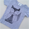 Hand Screen printed Fox Mo Tee on grey Size 6-12Months