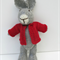Oliver the  Hand Knitted Bunny Rabbit Toy with Red Jacket