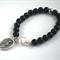 Saint Dympha Bracelet Onyx + Freshwater pearl St Dymphna saint soothes anxiety