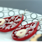 Quilling Hanging Earrings - Red with White flower