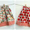 Size 2 Girl's Reversible Skirt Windmills and Red Apples
