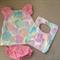 Newborn Girl Dress/Bib/Nappy Cover set.