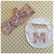 Pink tree set headband & letter bib head wrap baby toddler chocolate