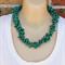 Green Wood Glass Pearl Crochet Wire Beaded Handmade OOAK Necklace by Top Shelf