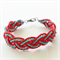 Red & Turquoise Seed Bead Braided Bracelet