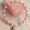 Czech Glass & Pearl Beaded Bracelet in Shades of Pink