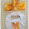 Retro floral set letter bib & headband/head wrap yellow pink orange alphabet
