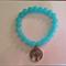Blue and Silver tree glass bracelet