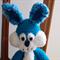 Basil -Hand crocheted bunny rabbit; blue & white, baby shower, Easter